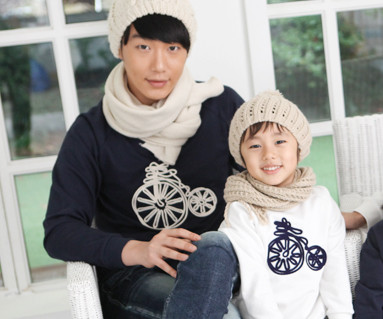 拉绒自行车运动衫爸爸和宝宝长袖_12D08