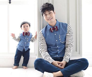 Gutdeyi衬衫+的日圆领爸爸和宝宝长袖_15C08