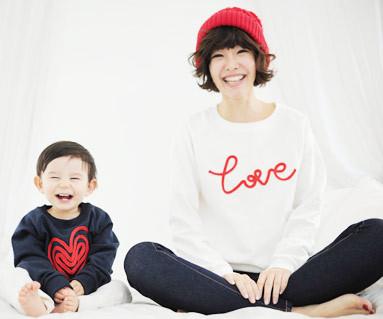 拉绒链条绣运动衫长袖/母亲和婴儿/ 11D05