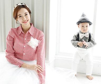 格子格子衬衫长袖二合一/母亲和婴儿/ 15C11