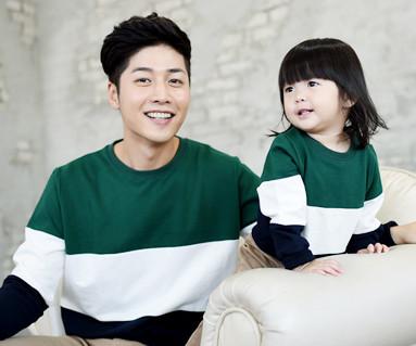 拉绒色彩运动的三人衫爸爸和宝宝长袖_14D01