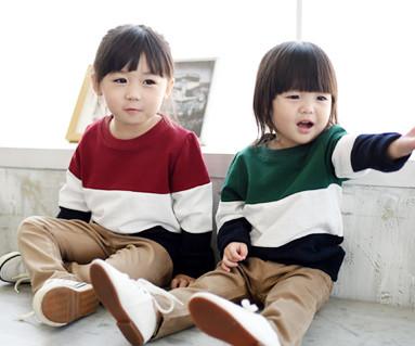 拉绒三人色运动衫长袖/婴儿/ 14D01
