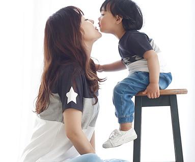 我的明星圆领短袖体恤/母亲和婴儿/ 16B12
