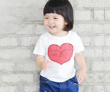 红色牛仔裤补丁圆领短袖体恤/婴儿/ 14B32