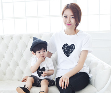 黑心圆领妈妈和宝宝短袖体恤衫_15B08WK