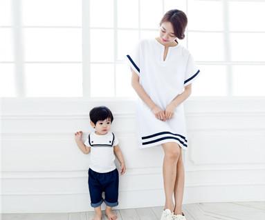 水手家庭短袖体恤/母亲和婴儿/ 15B16