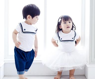 水手家庭短袖体恤/婴儿/ 15B16