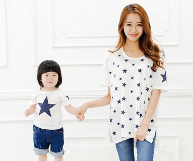 星圆领短袖体恤/母亲和婴儿/ 14B39