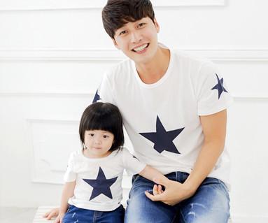 星圆领爸爸和宝宝短袖体恤_14B39