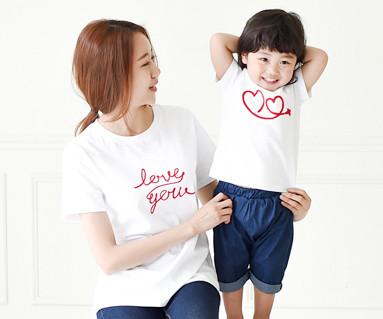 飞圆领短袖体恤/母亲和婴儿/ 15B20