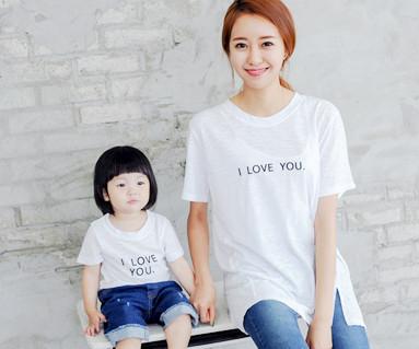 爱它绣圆领短袖体恤/母亲和婴儿/ 14B24