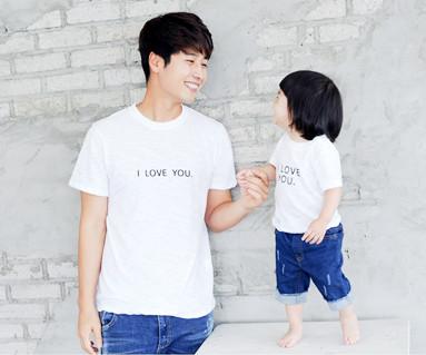 爱你绣圆领爸爸和宝宝短袖体恤_14B24