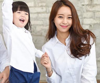 牛津衬衫长袖白色/母亲和婴儿/ 14C15