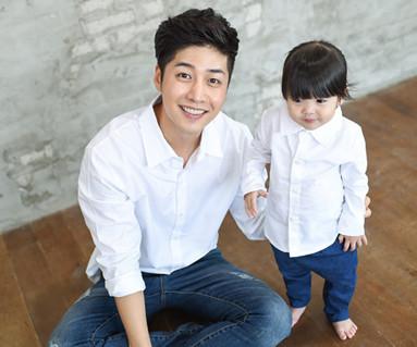 牛津衬衫白色爸爸和宝宝长袖_14C15