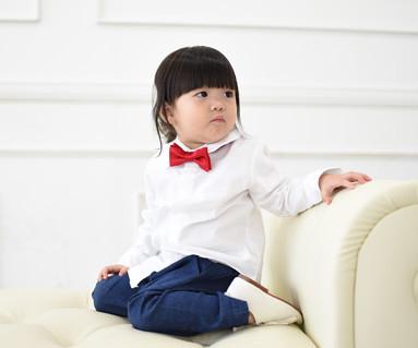 牛津衬衫长袖白色/婴儿/ 14C15