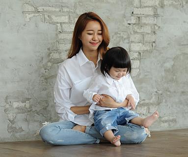 隐藏口袋衬衫妈妈和宝宝长袖_14B23