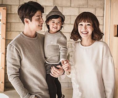 家庭,爸爸和宝宝锦鲤剪切长袖_16D16