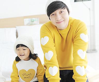 拉绒橄榄色运动衫爸爸和宝宝长袖_13D02