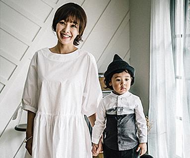 气球袖妈妈和婴儿长袖_16C01