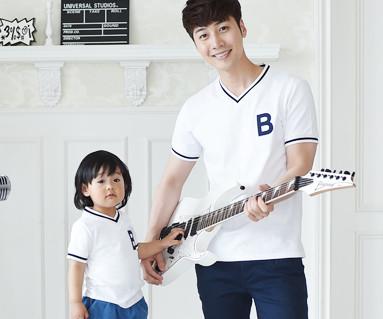 暑期学校家庭爸爸和宝宝短袖体恤_16B11