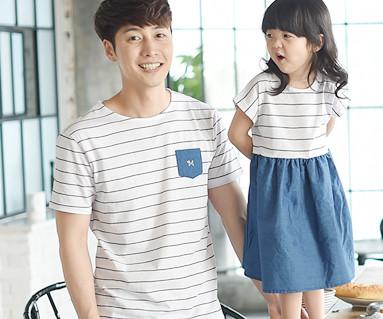 蓝眼家庭的爸爸和宝宝短袖体恤_16B05