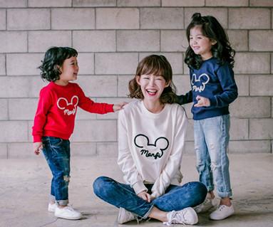 Mongpi鼠标运动衫母亲和婴儿长袖_17C06