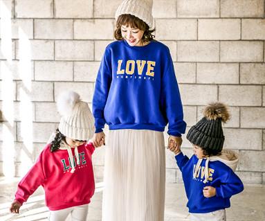 """<font color=""""ffffff"""">[家庭长袖T&家庭的样子; <br></font>拉绒mongpi男人对男人的爱妈妈和宝宝长袖_17D17"""