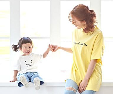 """<font color=""""ffffff"""">[家庭健康与家庭外观] <br></font> Ho-Ha-Ha妈妈和宝宝短袖体恤衫_19B06"""