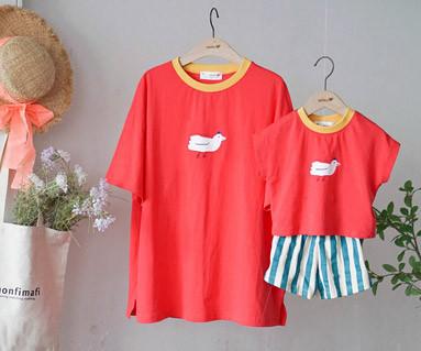 "<font color=""ffffff"">[家庭短袖T恤和家庭外观] <br></font>飞鸟T恤妈妈和宝宝短袖身体_19B16"