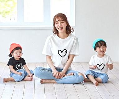 "<font color=""ffffff"">[家庭短袖T恤和家庭外观] <br></font>心脏心脏母亲和婴孩短袖身体_19B07"
