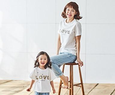"<font color=""ffffff"">[家庭短袖T恤和家庭外观] <br></font>自然爱妈妈和婴儿短袖身体_18B02"