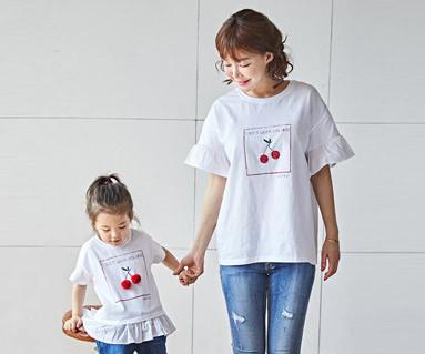 "<font color=""ffffff"">[家庭短袖T恤和家庭外观] <br></font> Cherry Coco妈妈和宝宝短袖身体_18B16"