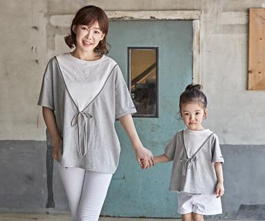 "<font color=""ffffff"">[家庭短袖T恤和家庭外观] <br></font>丝带基本妈妈和婴儿短袖身体_18B10"