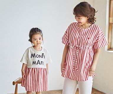 "<font color=""ffffff"">[家庭短袖T恤和家庭外观] <br></font>红芒果妈妈和宝宝短袖身体_18B18"