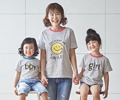 "<font color=""ffffff"">[家庭短袖T恤和家庭外观] <br></font>微笑妈妈和宝宝短袖身体_18B04"