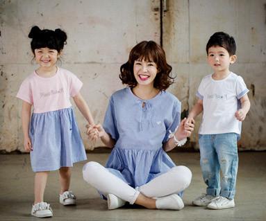 "<font color=""ffffff"">[家庭短袖T恤和家庭外观] <br></font> Cotton Blossom st母亲和婴儿短袖身体_17B04"