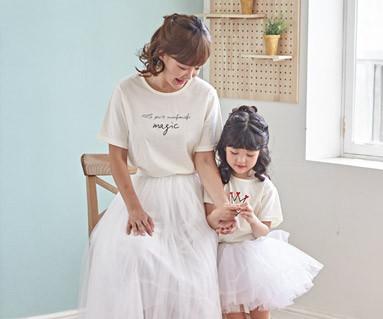 "<font color=""ffffff"">[家庭短袖T恤和家庭外观] <br></font>蒙彼利魔术妈妈和宝宝短袖身体_18B21"