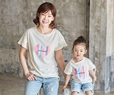 "<font color=""ffffff"">[家庭短袖T恤和家庭外观] <br></font>涂妈妈和宝宝短袖身体_18B06"