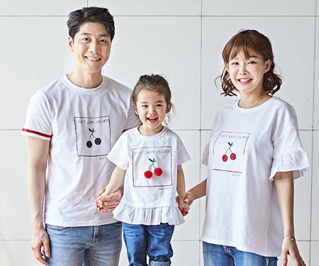 "<font color=""ffffff"">[全家福托盘和全家福] <br></font> Cherry Coco家庭短袖体恤衫_18B16"